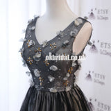 Beaded A-Line Lace Sleeveless Applique Homecoming Dress with Bow-Knot, KX1308