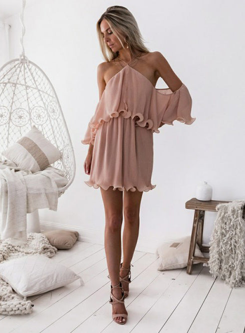 New Arrival Pink Chiffon Homecoming Dresses, Off Shoulder Sexy Homecoming Dresses, KX1391