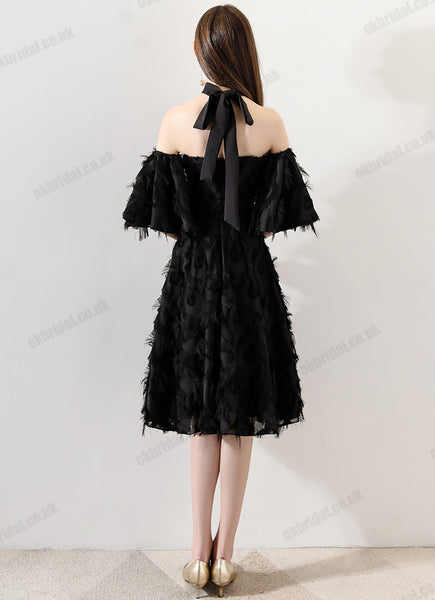 Black Off Shoulder Homecoming Dresses, Lace Backless Short Sleeve Homecoming Dresses, KX1505
