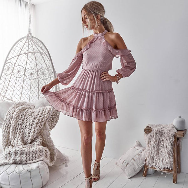 Dusty Pink Lace Homecoming Dresses,Chiffon Open-Back Homecoming Dresses, KX1512