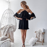 Black Off Shoulder Newest A-Line Spaghetti Straps Homecoming Dresses, FC1513