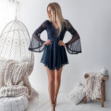 New Arrival V-Neck Long Sleeve Lace A-Line Chiffon Navy Open-Back Homecoming Dresses, KX1515