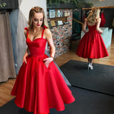 Elegant Red A-line Satin Backless Homecoming Dress with Pockets, FC1838