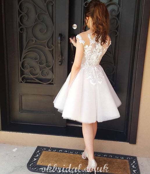 Charming A-line Tulle Cap Sleeve Lace Homecoming Dress, FC5070