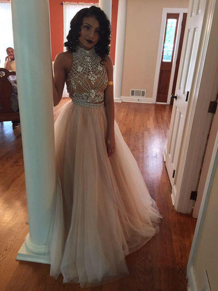 Two Piece High Neck Prom Dresses, Open Back Popular Prom Dresses, Charming Prom Dresses, PD0115