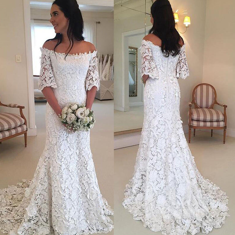 Charming Off shoulder Lace Wedding Dresses, Half Sleeve Lace Mermaid ...