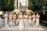 Off Shoulder Gold Charming Bridesmaid Dresses, Mermaid Soft Satin Backless Bridesmaid Dresses, KX935