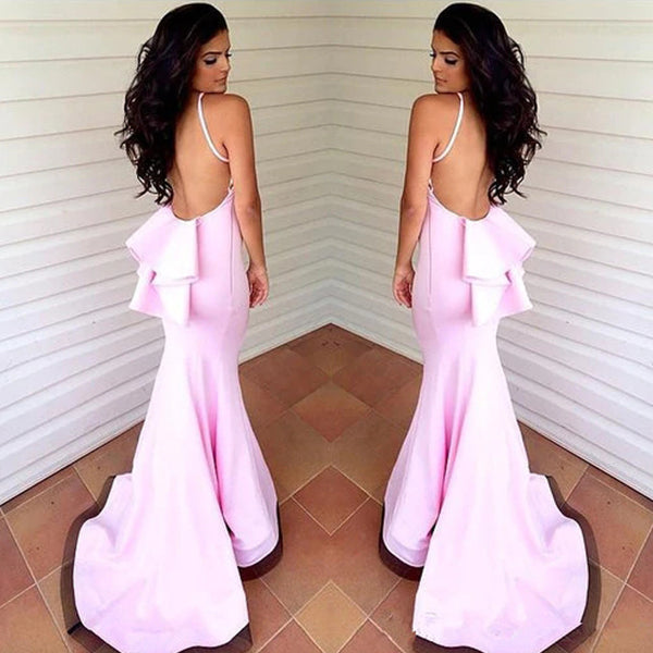 Pink Spaghetti Straps Mermaid Jersey Backless Floor-Length Bridesmaid Dress, FC892