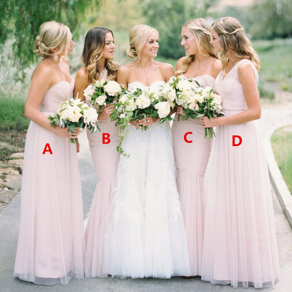 7122f19d4c0 Pink Mismatched Tulle Pleated Inexpensive Floor-Length Bridesmaid Dresses