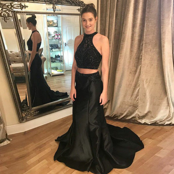 Black Two Pieces Satin Prom Dress, Beaded Top Mermaid Sleeveless Prom Dress, KX1257
