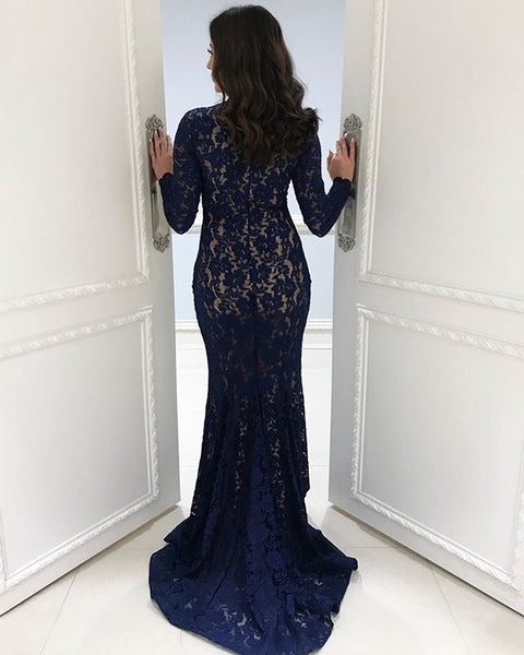 Long Sleeve Lace Prom Dresses, Navy Mermaid Floor-Length Prom Dresses, KX1535