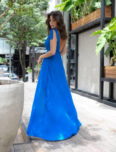 Inexpensive Simple V-Neck Jersey Slit A-Line Backless Prom Dresses, FC1564