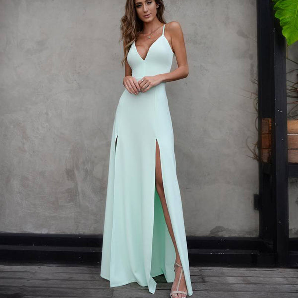 Simple Backless Prom Dresses