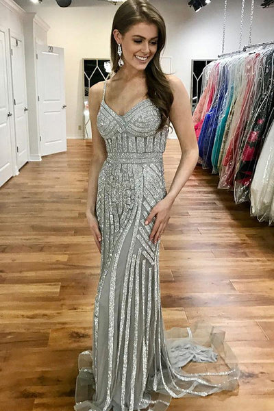 Grey Spaghetti Straps Tulle Mermaid Backless Prom Dresses, FC1612