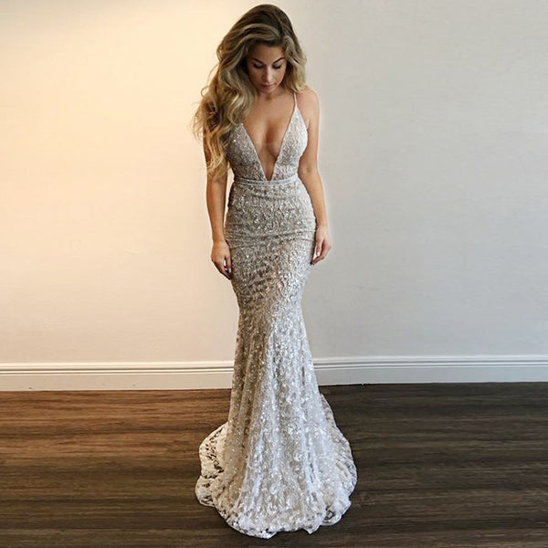 Charming Lace Mermaid Backless Beaded V-Neck Tulle Dresses, FC1738
