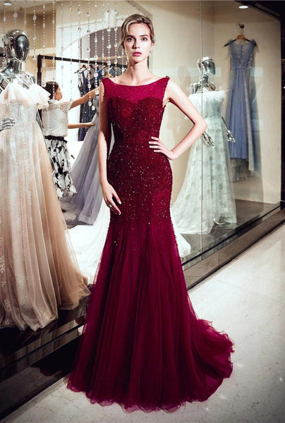 Red Sparkly Beaded Mermaid Sleeveless Tulle Sequin Backless Prom Dresses, FC1780