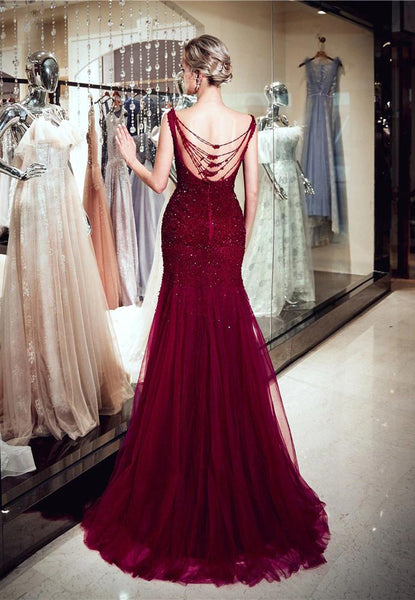 03816808 Red Sparkly Beaded Mermaid Sleeveless Tulle Sequin Backless Prom Dresses,  FC1780