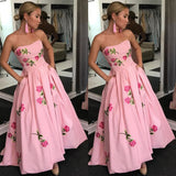 Pink A-Line Backless Applique High-Low Jersey Prom Dresses, FC1812