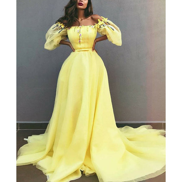 Charming Yellow Off Shoulder Chiffon A-Line Applique Prom Dresses, FC1847