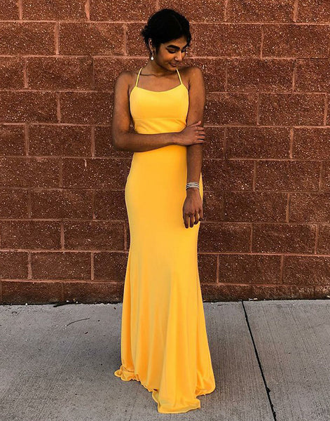 Bright Yellow Jersey Backless Sheath Simple Prom Dresses, FC1851