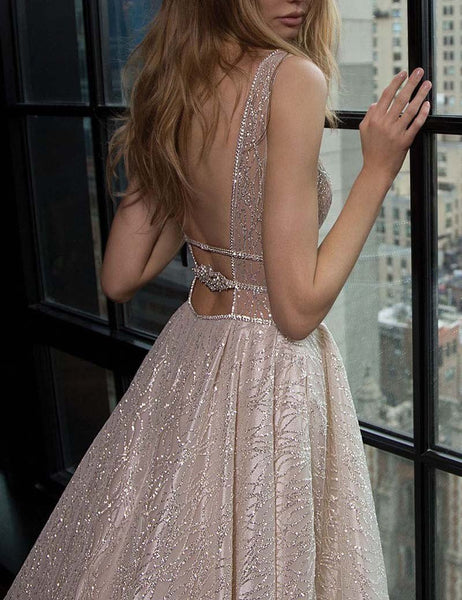 19e279a4369b Sparkly Sequin A-Line Backless Tulle Simple Sleeveless Prom Dresses, FC1861
