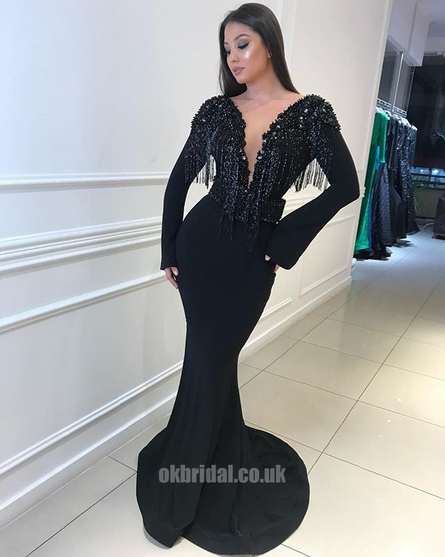 Black Tulle Long Sleeve Backless Jersey Mermaid Beaded Prom Dress, FC1890