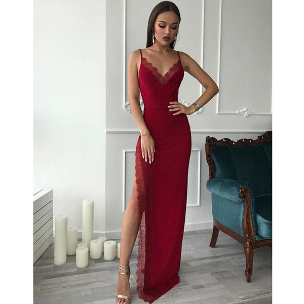 413efab4657da New Arrival Mermaid Jersey Sexy Slit Lace Cheap Prom Dresses, FC1936 ...