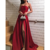 Simple Straight Neackline A-Line Backless Satin Slit Prom Dresses, FC1945
