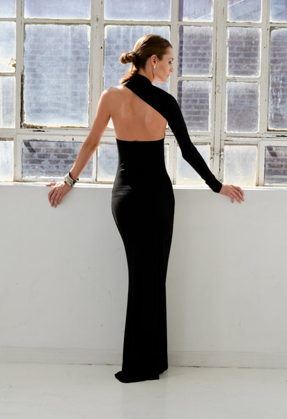 Black Special Desighed Long Sleeve Backless Mermaid Jersey Prom Dresses, FC2070