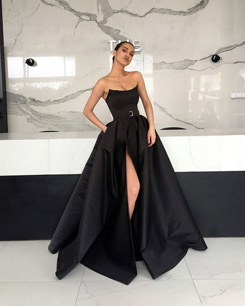 Black Satin Backless Simple A-Line Slit Cheap Long Prom Dresses, FC2121