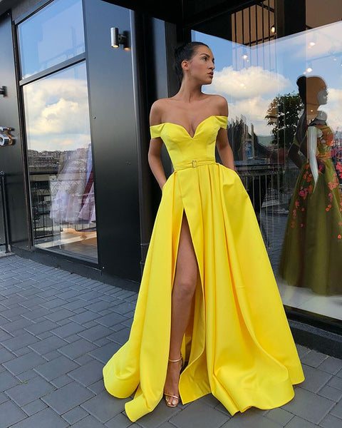 57831d7f74f2 Off Shoulder Yellow A-line Satin Slit Charming Prom Dresses