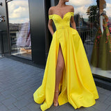 Off Shoulder Yellow A-line Satin Slit Charming Prom Dresses, FC2130