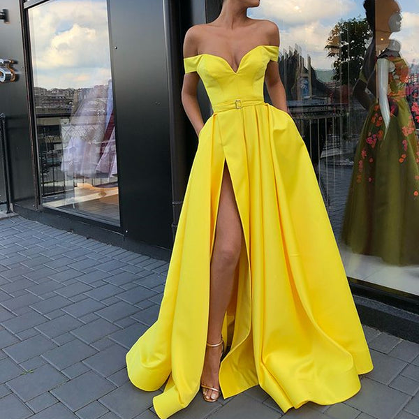 84a81752fed0 Off Shoulder Yellow A-line Satin Slit Charming Prom Dresses