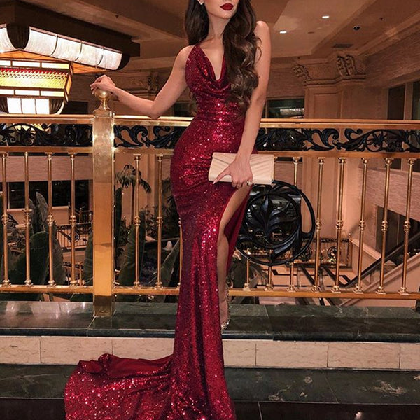 1e7dbed66b2 Sequin Mermaid Sexy Slit Cross Back Sparkly Prom Dresses