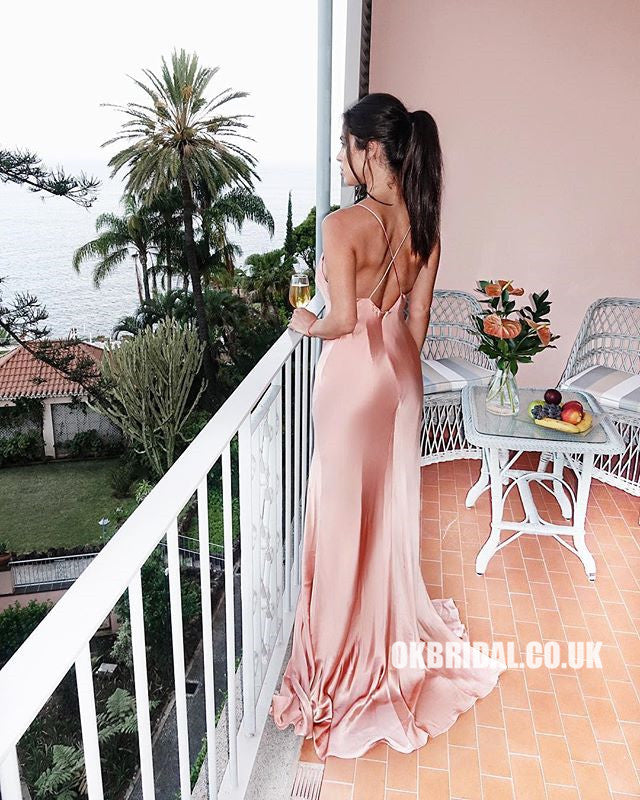 Spaghetti Straps Sexy Backless Slit Simple Prom Dresses, FC2182