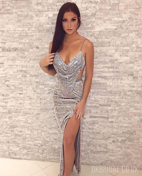 Sparkly Mermaid Sexy Backless Slit Sequin Prom Dresses, FC2211