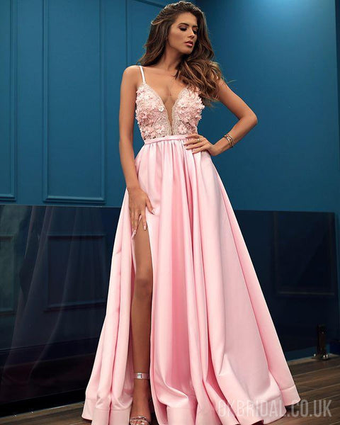 Pink Satin A-line Sexy Slit Tulle Beautiful Prom Dresses, FC2241