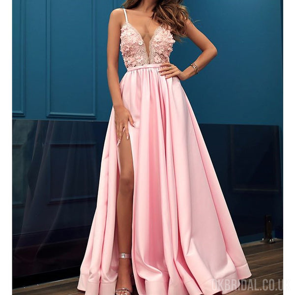 Pink Satin A-line Sexy Slit Tulle Beautiful