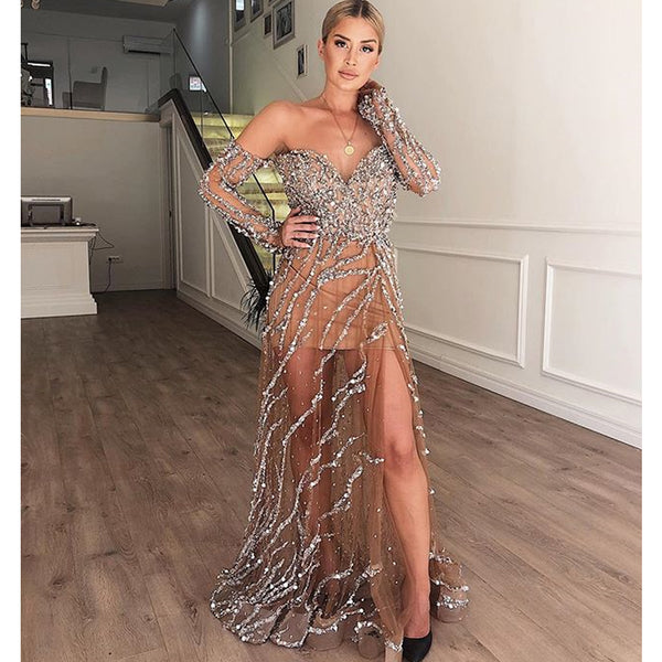 Sparkly Beaded A-Line Off Shoulder Long Sleeve Sexy Slit Backless Prom Dresses, FC2288