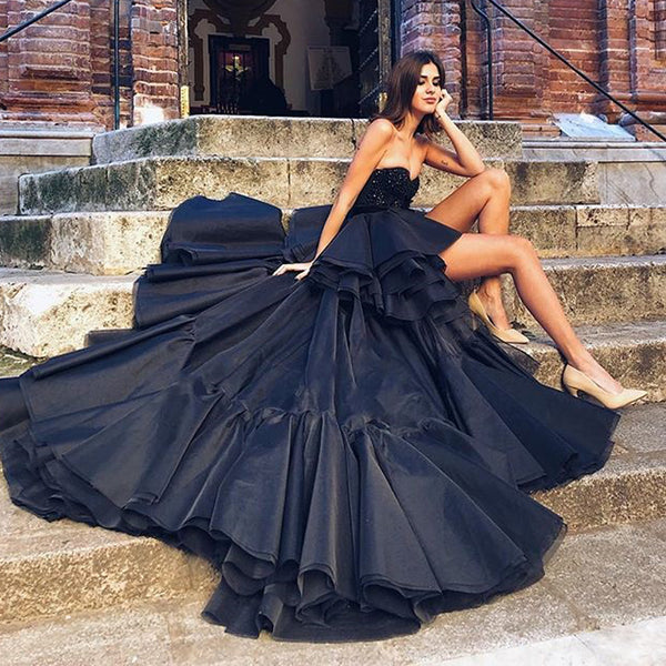 Black High-Low A-line Backless Sweetheart Beaded Charming Prom Dresses, FC2296