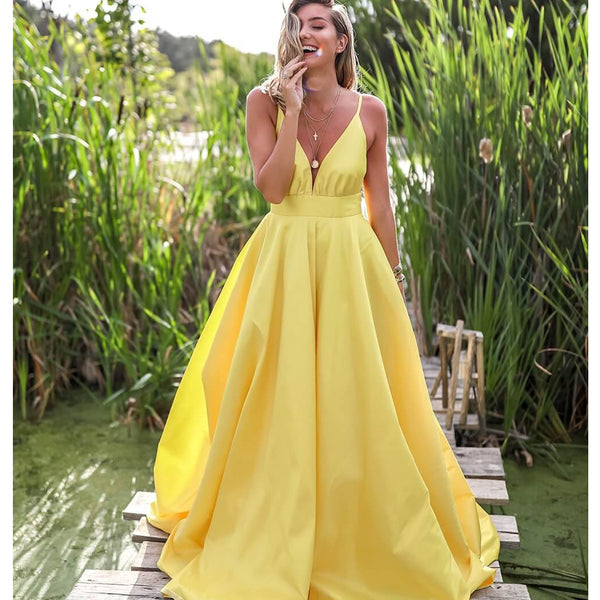 5df91f02c1a Yellow Spaghetti Straps A-line Deep V-neck Backless Satin Long Prom Dresses