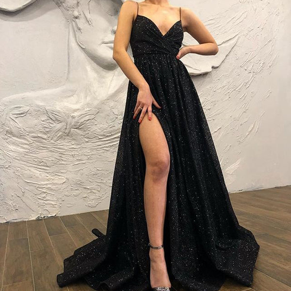 Spaghetti Straps A-line Black Lace Sparkly Long Prom Dresses, FC2315