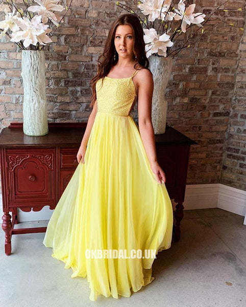 Yellow Spaghetti Straps A-line Backless Chiffon Sequin Prom Dresses, FC2402