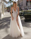 Charming A-Line Sleeveless Tulle Beaded Slit Backless Prom Dresses, FC2448