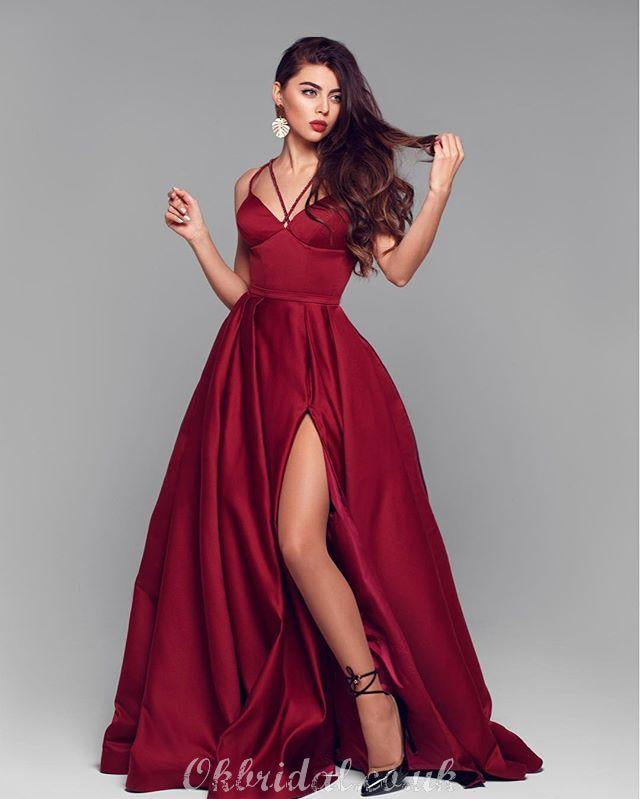Elegant A-line Satin Backless Sexy Slit Long Prom Dress, FC2541