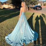 Sexy See Through Slit A-line Backless Applique Prom Dress, FC4002