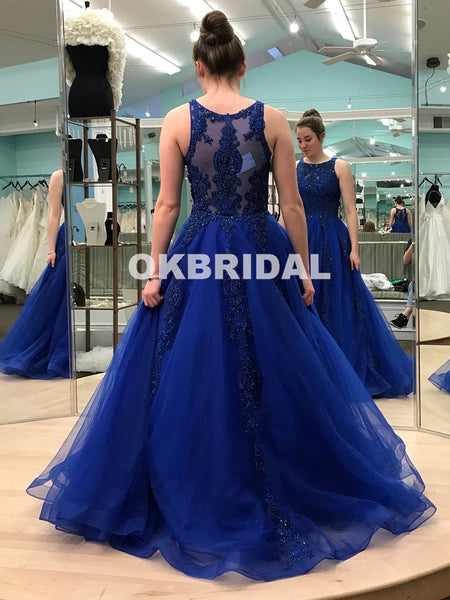 Charming Royal Biue A-Line Prom Dress, Luxury Beaded Sparkly Sleeveless Organza Prom Dress, KX1071