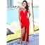 New Arrival Red Backless Sheath Prom Dresses, Spaghetti Straps Deep V-Neck Party Dresses, KX1411