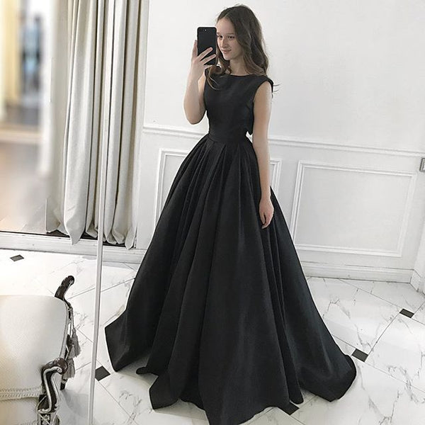 Charming Black A-Line Prom Dresses, Satin Backless Long Sleeveless Prom Dresses, KX1445