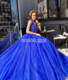 Gorgeous A-line Royal Blue Off Shoulder Beaded Long Prom Dress, FC4600